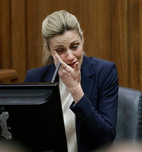 (AP Photo/Mark Humphrey, Pool). Sportscaster and television host Erin Andrews testifies Monday, Feb. 29, 2016, in Nashville, Tenn.