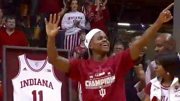 Indiana's Yogi Ferrell greets the Assembly Hall crowd on Senior Night.