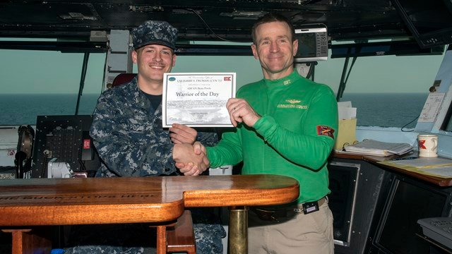 Aircraft carrier USS Harry S. Truman recognized Airman Beau Poole, from Louisville, Kentucky, as the ship's Warrior of the Day for March 7, 2016.
