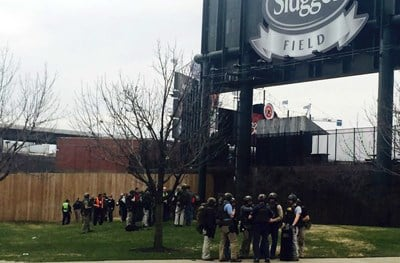 Police and SWAT teams gathered at the entrance of Slugger Field during an active shooter drill on March 9, 2016.