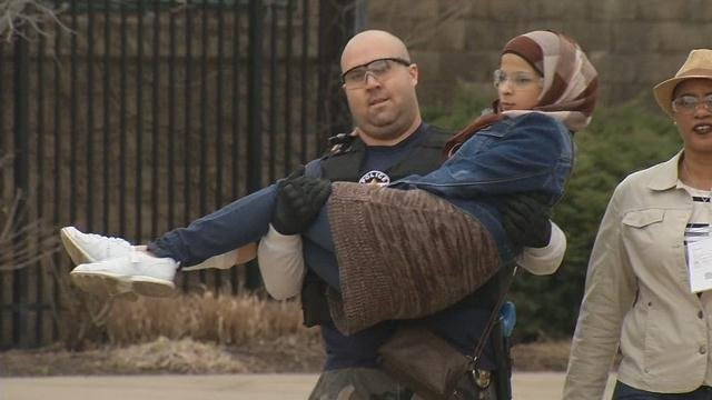 A victim of a mock terrorist attack at Louisville's Slugger Field was carried to safety during a drill on March 9, 2016.