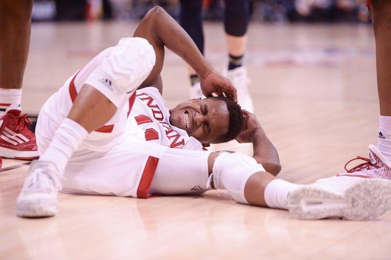IU guard Yogi Ferrell hit the ground in the Hoosiers' loss to Michigan Friday. (Jamie Owens photo.)
