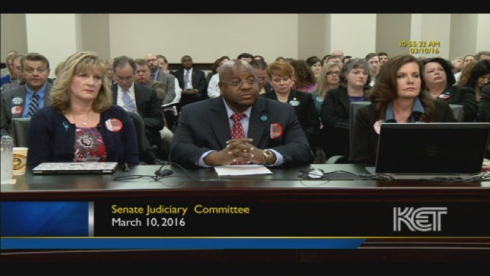 The panel that spoke on behalf of the bill listens to Sen. Seum's comments during the committee hearing (Image Courtesy: KET).