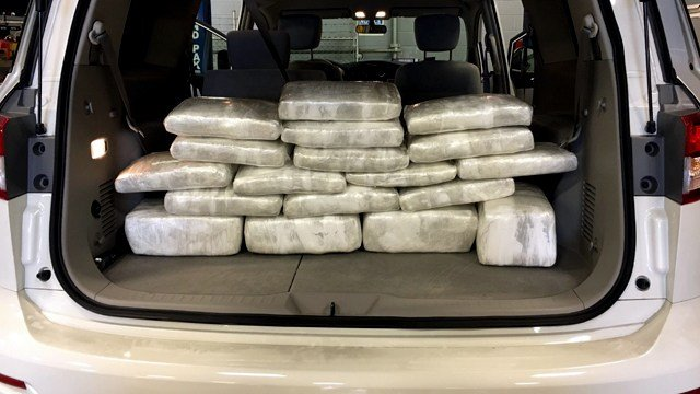 Police seized 103 pounds of marijuana with a street value of $450,000 during a traffic stop on March 14, 2016.
