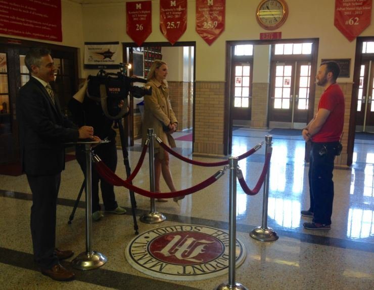 Bo James is interviewed by WDRB on Tuesday at Manual High (Photo by Toni Konz, WDRB News)
