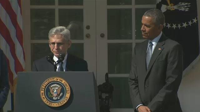 President Barack Obama announced his nomination of appeals court judge Merrick Garland to the Supreme Court at the White House Rose Garden on March 16, 2016.