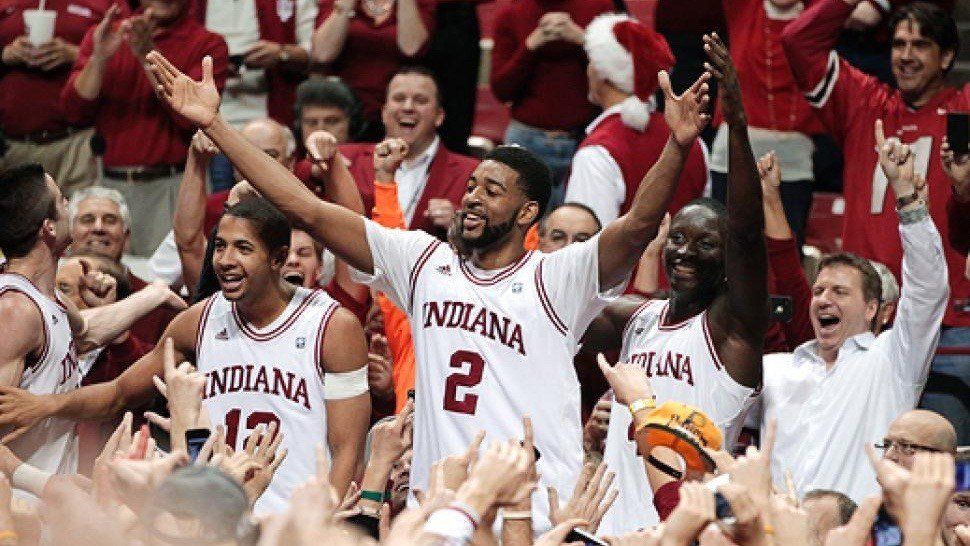 Christian Watford celebrates after making the shot to beat Kentucky in December of 2011. (AP photo)