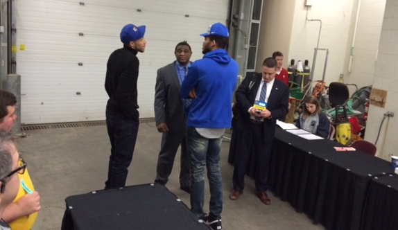 Tayshaun Prince (left) and Karl-Anthony Towns are in Iowa with Kentucky Saturday.