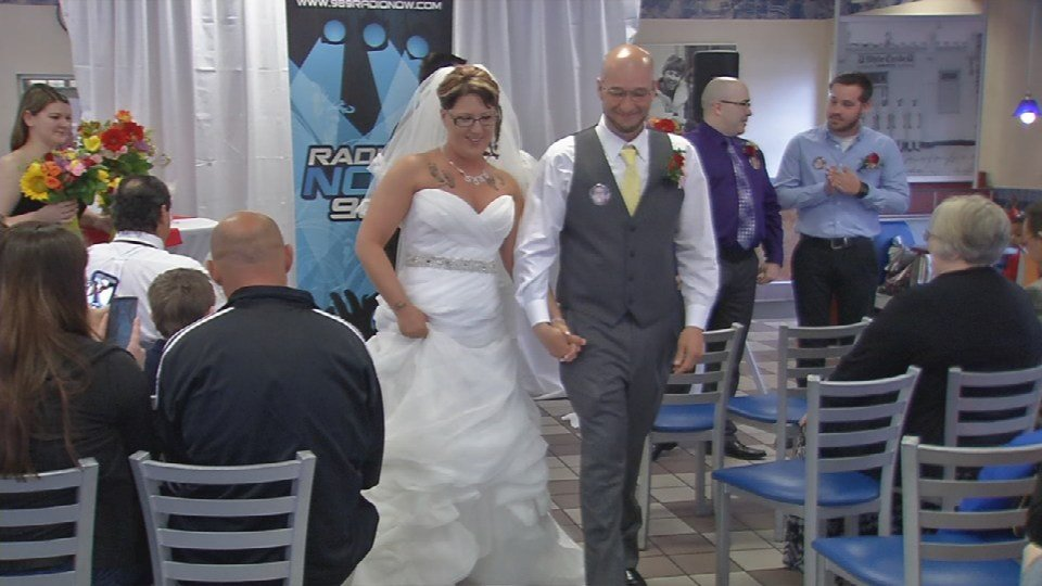 Charity and Daniel Rodriguez tied the knot inside the White Castle in downtown Louisville Saturdaymorning.