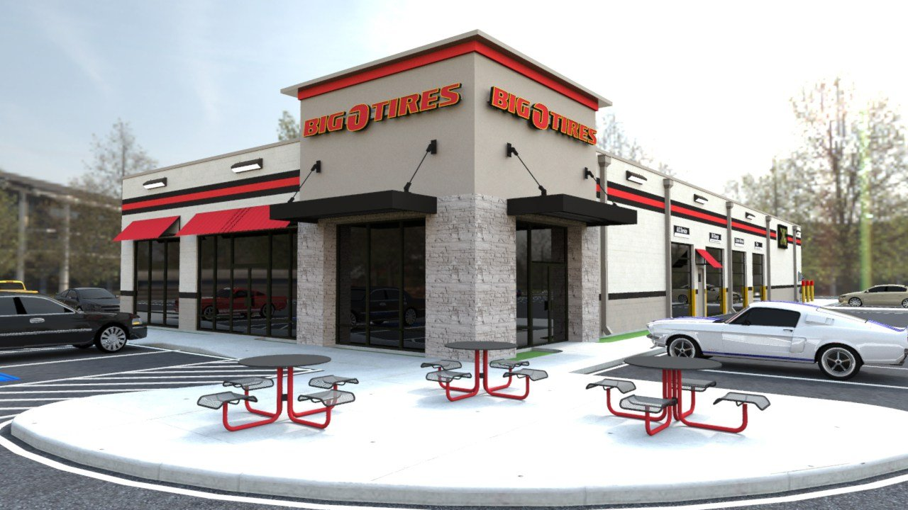 Rendering of new Big O location planned for Allison Lane in Jeffersonville, Indiana.