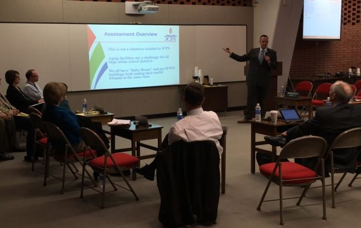 JCPS chief operations officer Mike Raisor presents the facilities assessment to the school board on March 22, 2016 (Photo by Toni Konz, WDRB News)