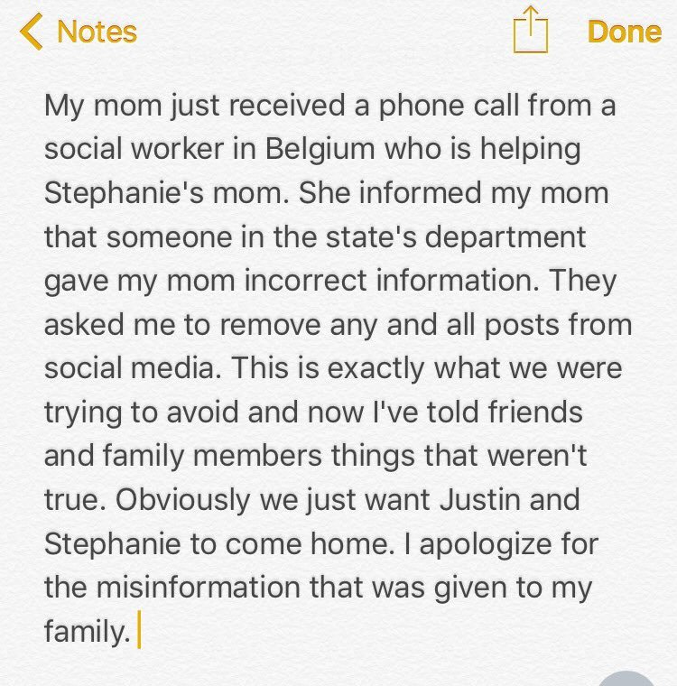 Tweet from missing couple's family member