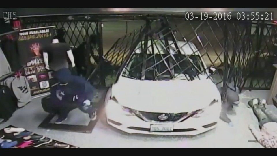"Surveillance still from ""smash and swarm"" burglary"
