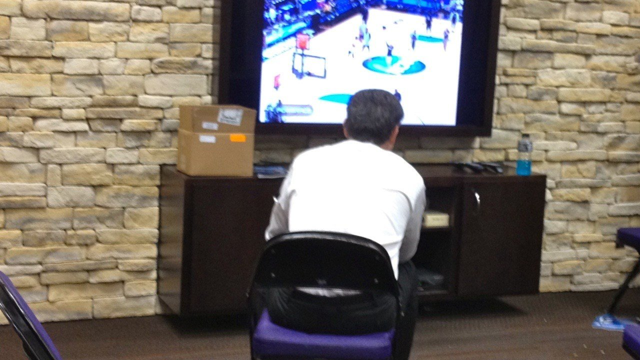 Rick Pitino watches Marquette and Florida in the 2012 Sweet Sixteen after his team had earned a surprise Elite Eight berth. (Eric Crawford photo)