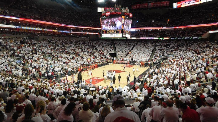 Louisville played in front of a White-Out crowd of 21,714 against Virginia on Jan. 30. After its self-imposed postseason ban was announced, four of its next five crowds were larger than that one. (WDRB photo by Eric Crawford)