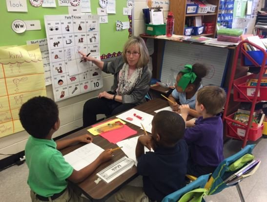 A teacher at Portland Elementary School on Monday (Photo by Samantha Chatman, WDRB News)