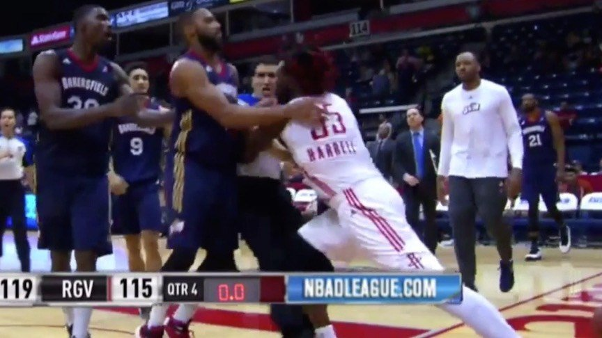 A screen shot from this NBDL video shows Montrezl Harrell shoving referee Jason Goldberg.