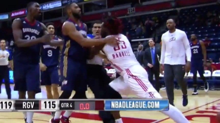 A screen shot from this NBDL video shows Montrezl Harrell shoving referee Jason Goldberg.