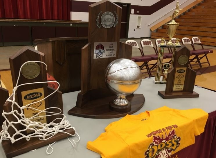 Doss' 2016 regional and district championship trophies, along with the
