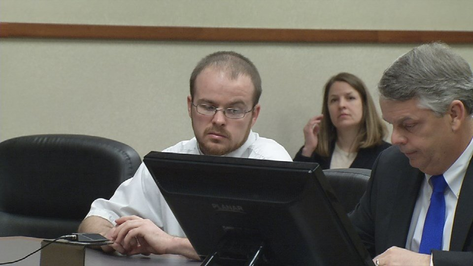 Jonathon Aikin during his sentencing hearing on March 29, 2016.
