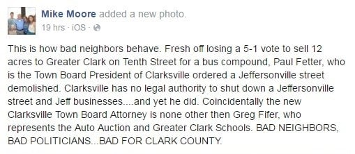 Facebook post from Mayor Mike Moore