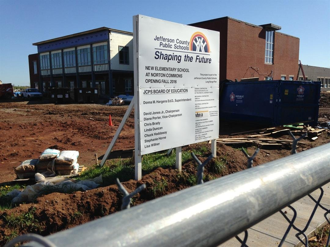 Construction of the new Norton Commons Elementary School is on schedule (Photo by Matt English, WDRB News)