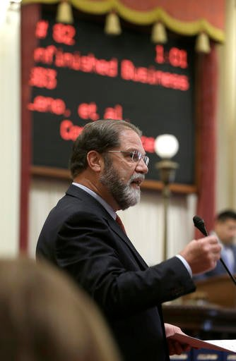 (AP Photo/Rich Pedroncelli). State Sen. John Moorlach, R-Costa Mesa, speaks in opposition to a measure that would increase the California's minimum wage Thursday, March 31, 2016, in Sacramento, Calif.
