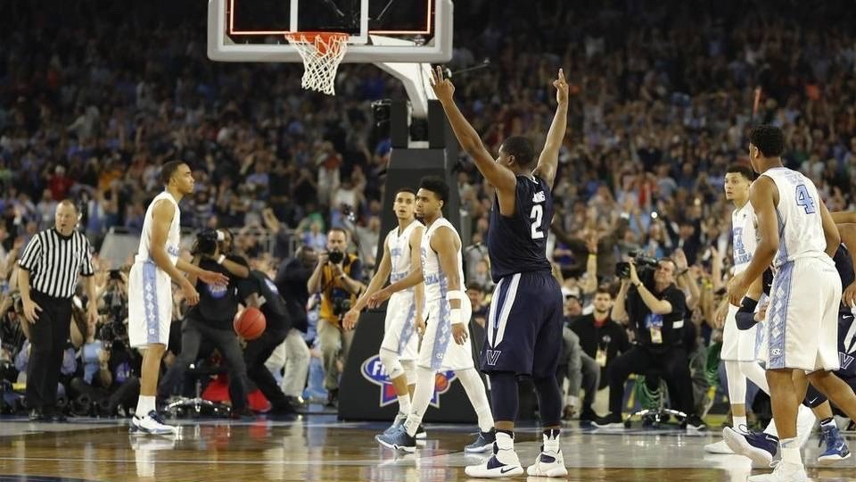 Kris Jenkins celebrates his buzzer-beating game-winner in the NCAA championship. (AP photo)