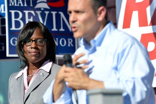 Lt. Gov. Jenean Hampton and Gov. Matt Bevin. (AP photo)