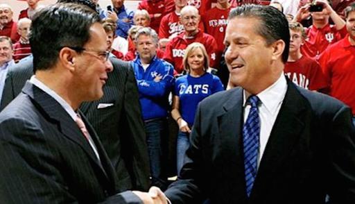 John Calipari (right) and Tom Crean shook hands before a recent game.
