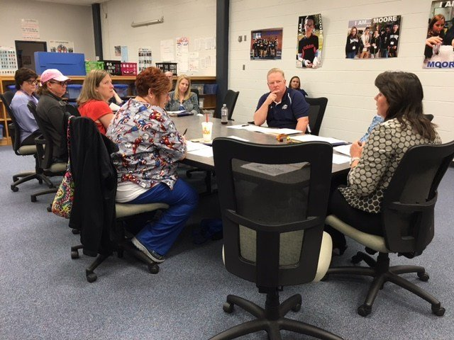 Site-based decision making council meeting at Moore Traditional School on April 11, 2016. Toni Konz/WDRB News photo.
