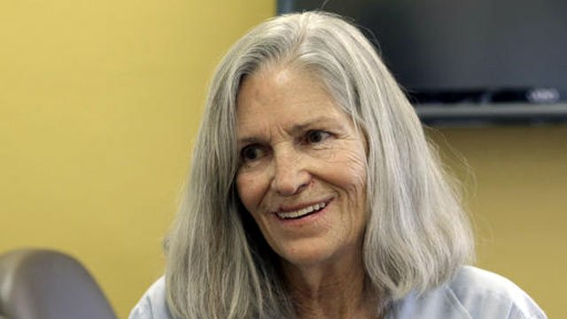 (AP Photo/Nick Ut). Former Charles Manson follower Leslie Van Houten confers with her attorney Rich Pfeiffer, not shown, during a break from her hearing before the California Board of Parole Hearings.