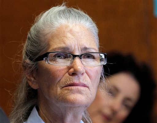 (AP Photo/Nick Ut). Former Charles Manson follower Leslie Van Houten is seen during a hearing before the California Board of Parole Hearings at the California Institution for Women in Chino, Calif., Thursday, April 14, 2016.