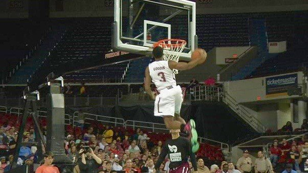 Xavier-bound Quentin Goodin wins the slam dunk contest at the Kentucky Derby Festival Classic All-Star Game. (WDRB photo by John Lewis)