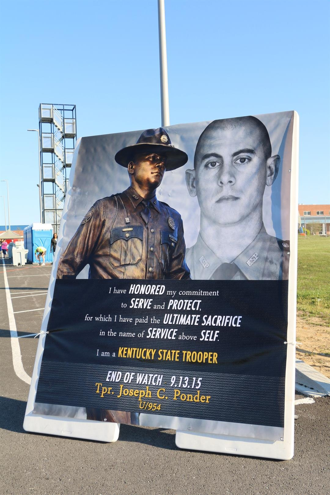 A poster made in honor of Trooper Cameron Ponder (Toni Konz, WDRB News)