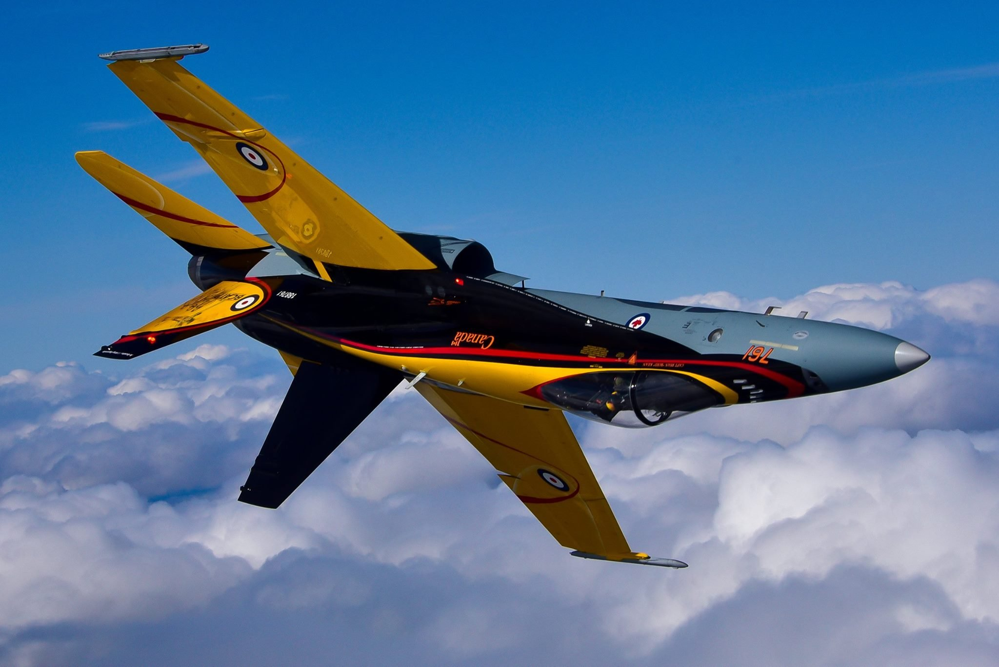 The CF-18 Demonstration jet takes to the sky during its first day of flying! PHOTO: Mike Reyno