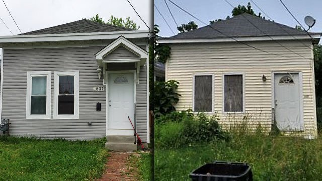 The shotgun house at 1837 Bank Street has been remodeled after the city foreclosed on it in 2012. (WDRB and PVA photos)