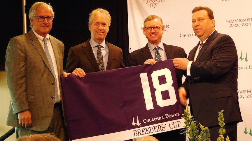 Breeders' Cup president and CEO Craig Farvel, Louisville mayor Greg Fischer, Breeders' Cup chairman Bill Farish and Churchill Downs president Kevin Flanery. (WDRB photo by Eric Crawford)