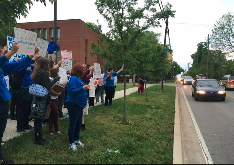 Eastern High protest on Tuesday, May 3, 2015 (Photo by Toni Konz, WDRB News)