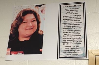 A poster with Jenny Pruett's picture hangs in her fourth grade classroom at Wilkerson Elementary School (Photo by Toni Konz, WDRB News)