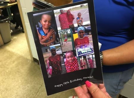 One of the birthday cards Pruett made for a former student, Haredo Abdi (WDRB News)