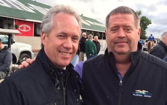 Louisville mayor Greg Fischer visited Dale Romans' barn at Churchill Downs Thursday.