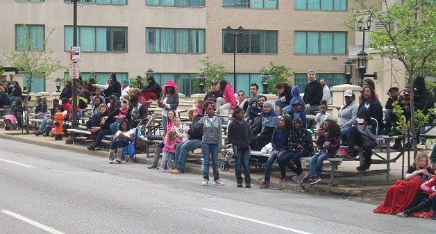 A look at the crowds waiting for the Pegasus Parade to begin