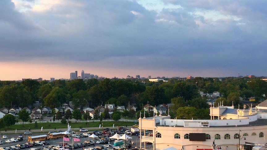 View of Downtown Louisville from The Mansion terrace at Churchill Downs. (WDRB photo by Eric Crawford).