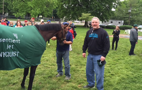 Trainer Doug O'Neill credited Marvin Bostock (center) and his friends for protecting Derby winner Nyquist.