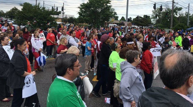 More than a thousand parents, students, teachers and other staff members protested outside the May 10 JCPS school board meeting (WDRB News)