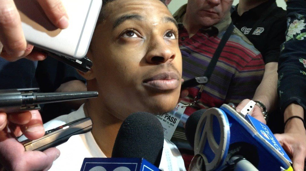 Tyler Ulis speaks with reporters at the NBA's pre-draft combine in Chicago. (WDRB photo by Eric Crawford)