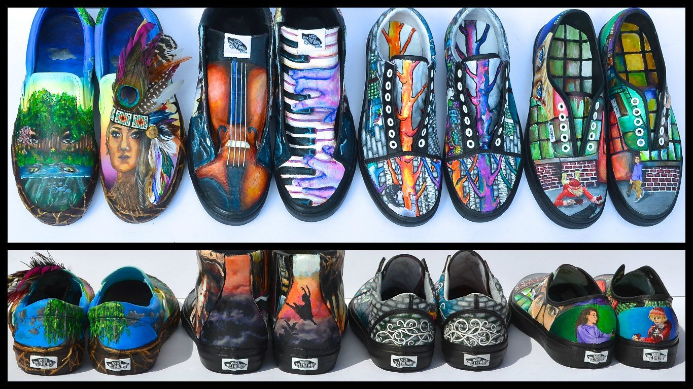 Shoe designs submitted by Eastern High School