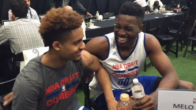 Louisville's Chinanu Onuaku jokes with Maryland's Melo Trimble at the NBA scouting combine. (WDRB photo by Eric Crawford).