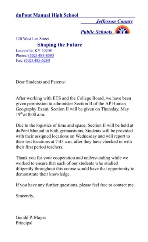 Letter to students and parents from duPont Manual High principal Jerry Mayes on Tuesday, May 17, 2016